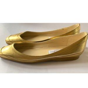 Jimmy Choo Leather Lamé Square Toe Ballet Flats